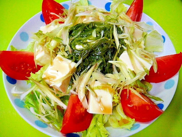 豆腐とめかぶミョウガの和風サラダ