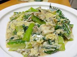 チンゲン菜とキノコの和風卵あん炒め