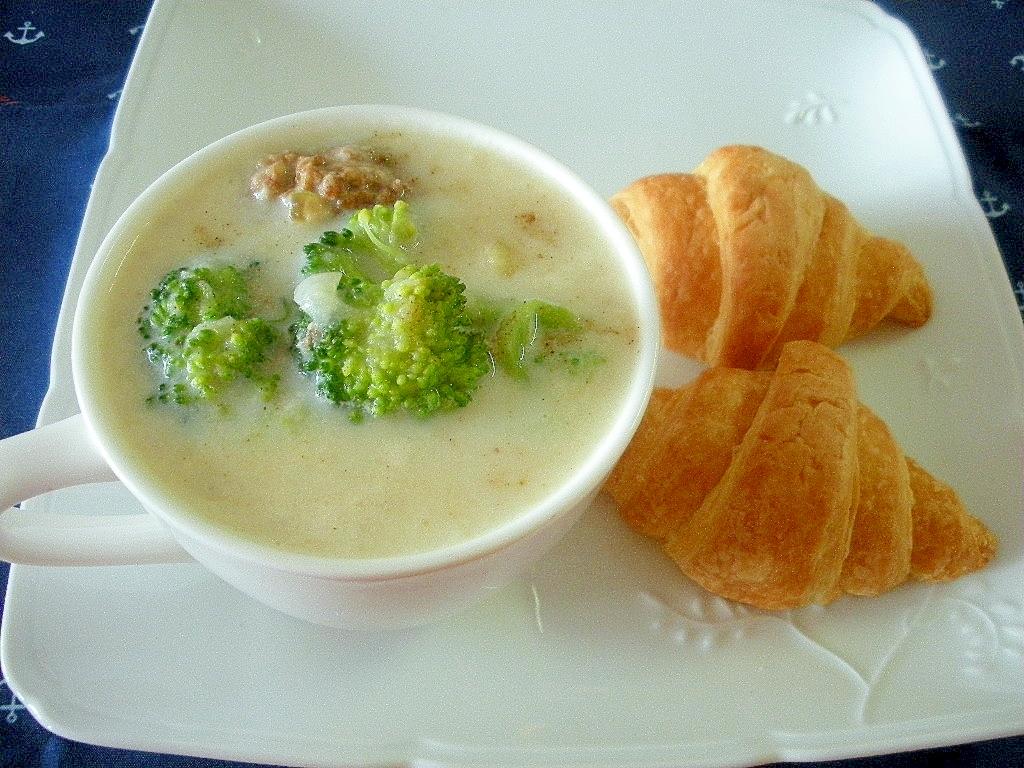 ブロッコリーと肉団子のスープ&クロワッサンプレート