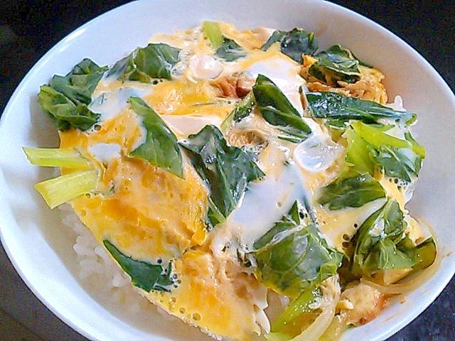 簡単ヘルシー!小松菜とえのきの豆腐入り卵とじ&丼