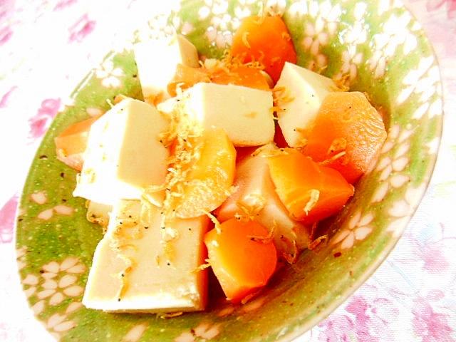 めんつゆ生姜de高野豆腐と人参と花小エビの煮物