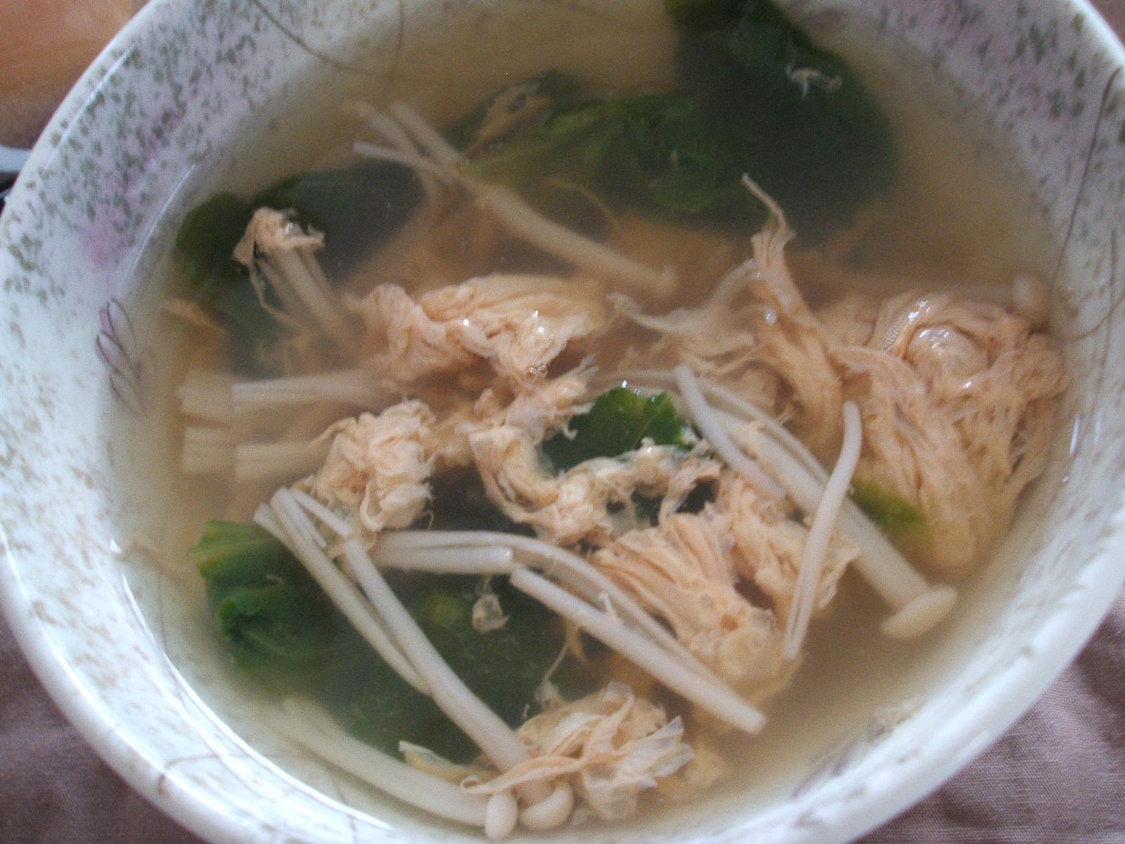 サラダ菜とえのきの卵スープ