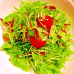水菜とトマトとスナップえんどうの生姜佃煮サラダ