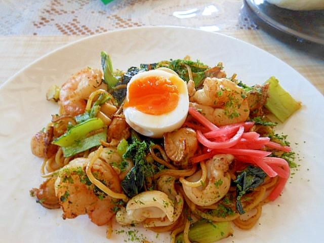 ミニリッチ~小松菜と海鮮焼きそば