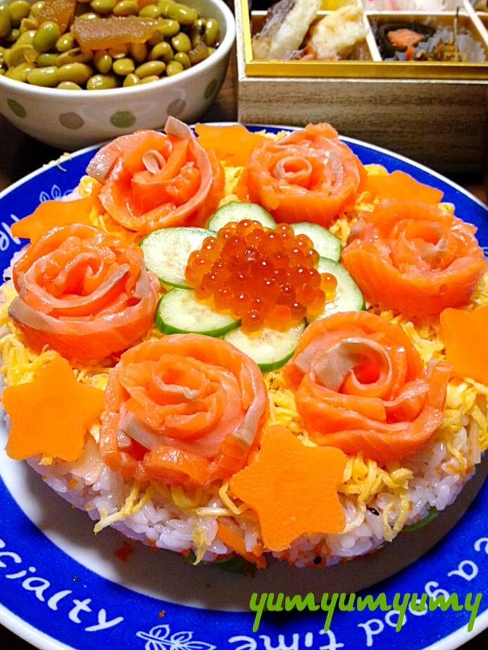 ちらし寿司ケーキです☆愛らしく♪美味しく♪幸せに♪ レシピ・作り方