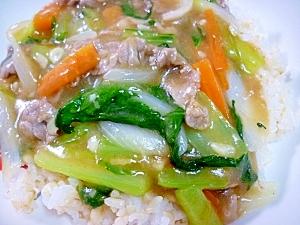 野菜たっぷり♪牛肉の中華あんかけ丼**