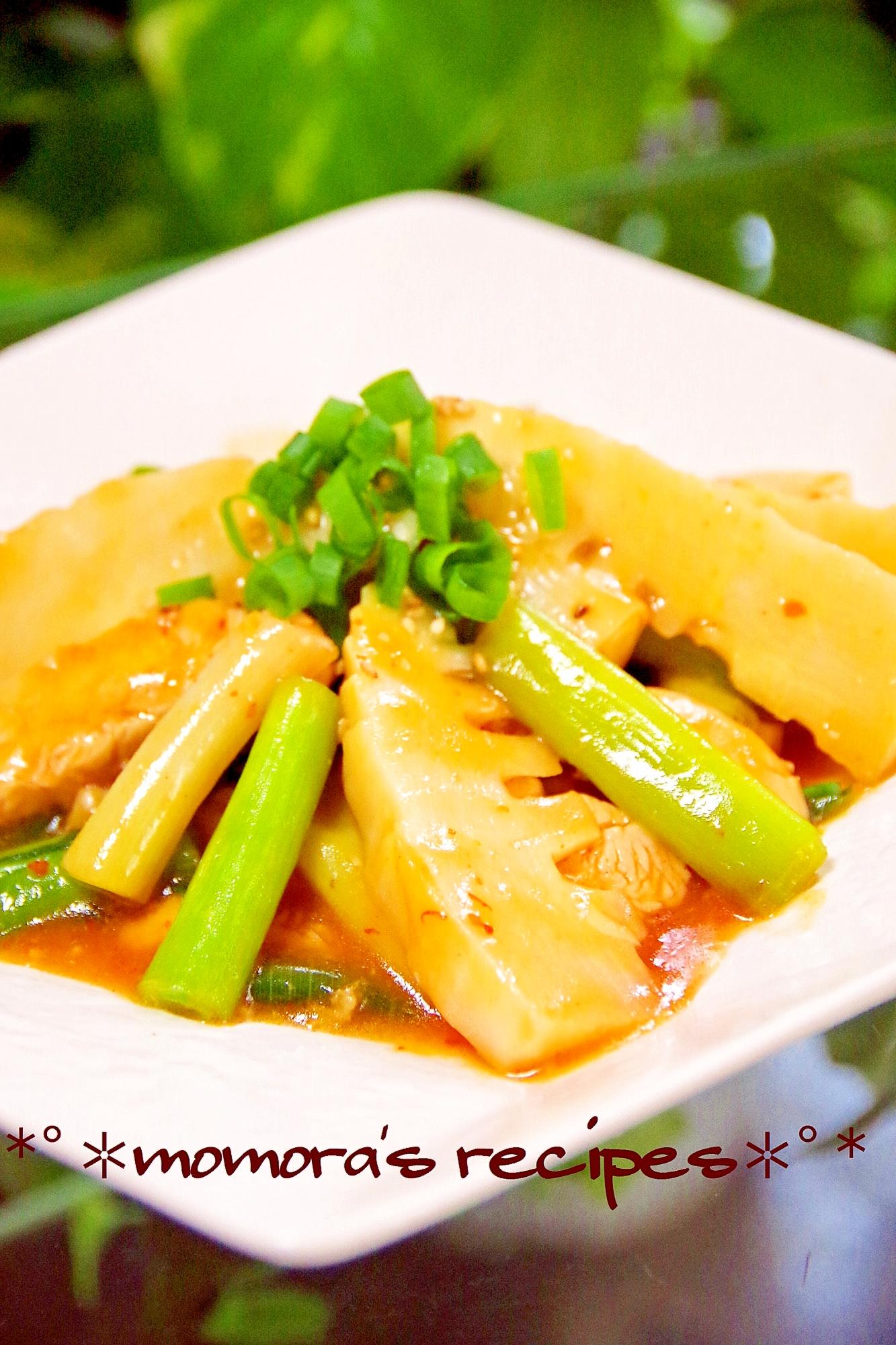 簡単おかず分葱と鶏胸肉でマーボー竹の子