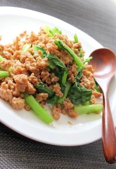 鶏そぼろと小松菜の炒め煮