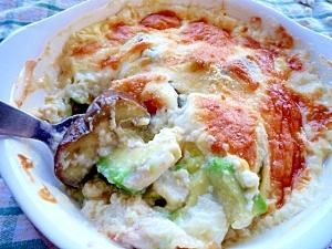 なすとアボガドのヘルシー豆腐グラタン