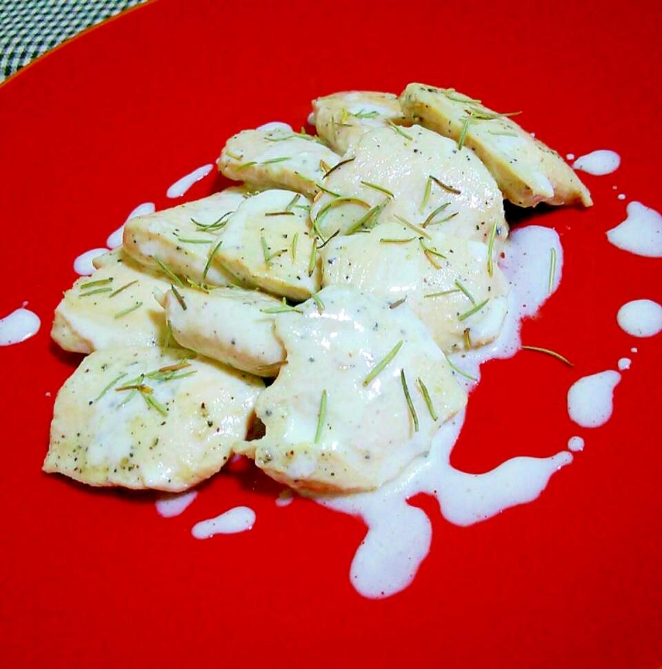 鶏むね肉のオリーブオイル漬けヨーグルトソースで