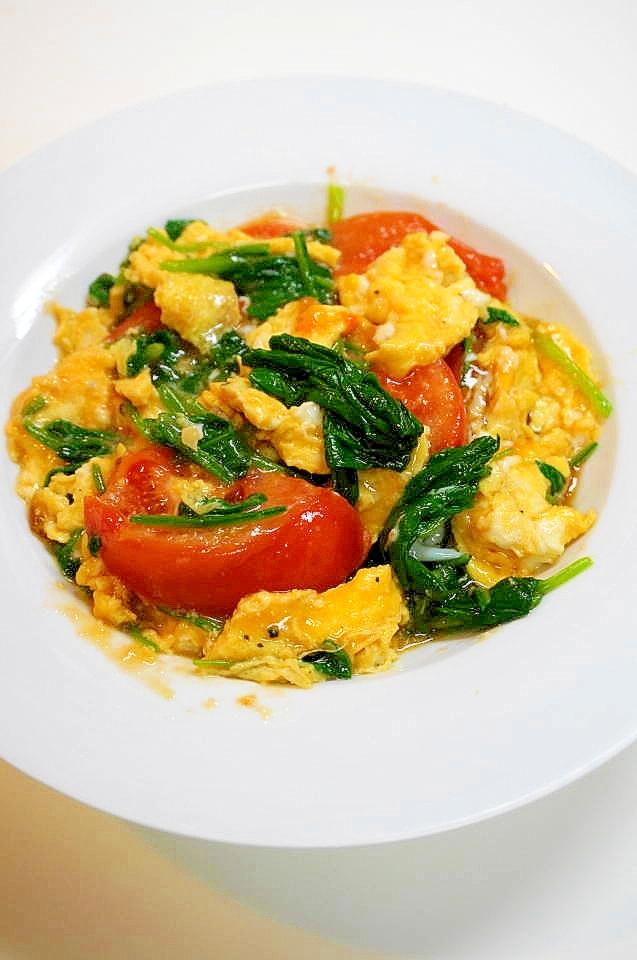 ほうれん草とトマトの卵炒め レシピ・作り方 by oppeke 楽天レシピ