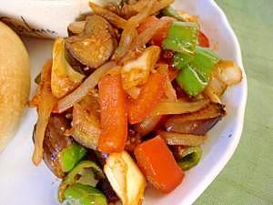 いろいろ野菜で☆なすとピーマンのケチャチー炒め