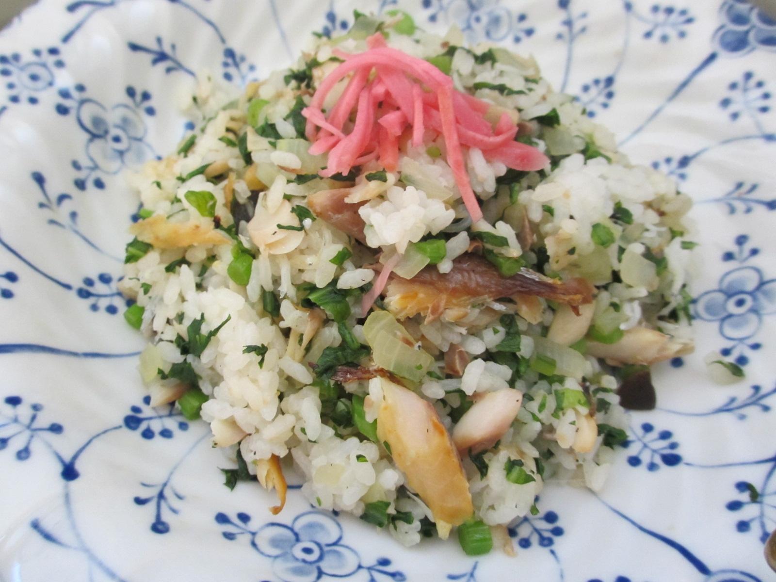 春菊とお魚の和風チャーハン