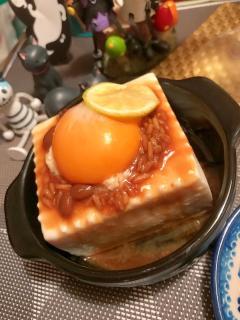 豆腐乳と卵黄のごま油冷奴