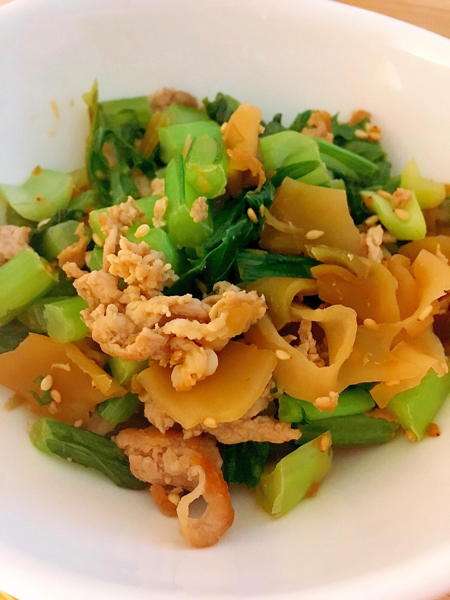 中華風☆カブの葉のザーサイ炒め レシピ・作り方
