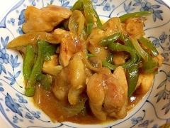 鶏もも肉とピーマンのカレーオイマヨ炒め