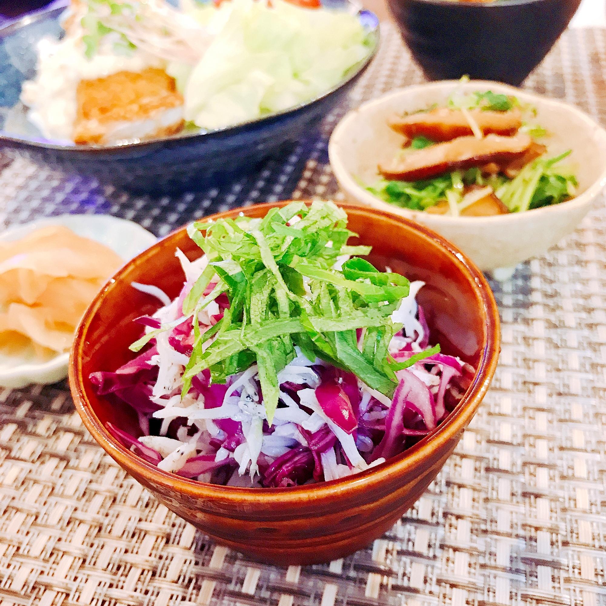 5. 食卓がぱっと華やかに!「紫キャベツとしらすのレモン和え 」