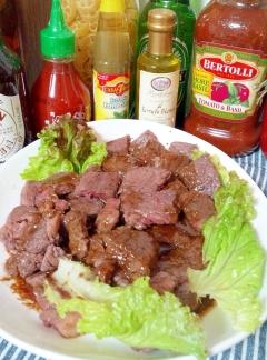 肩ロースステーキ・燻製醤油とバターのソース☆