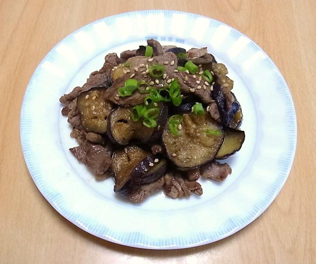 ラム肉となすのわさびしょうゆ炒め