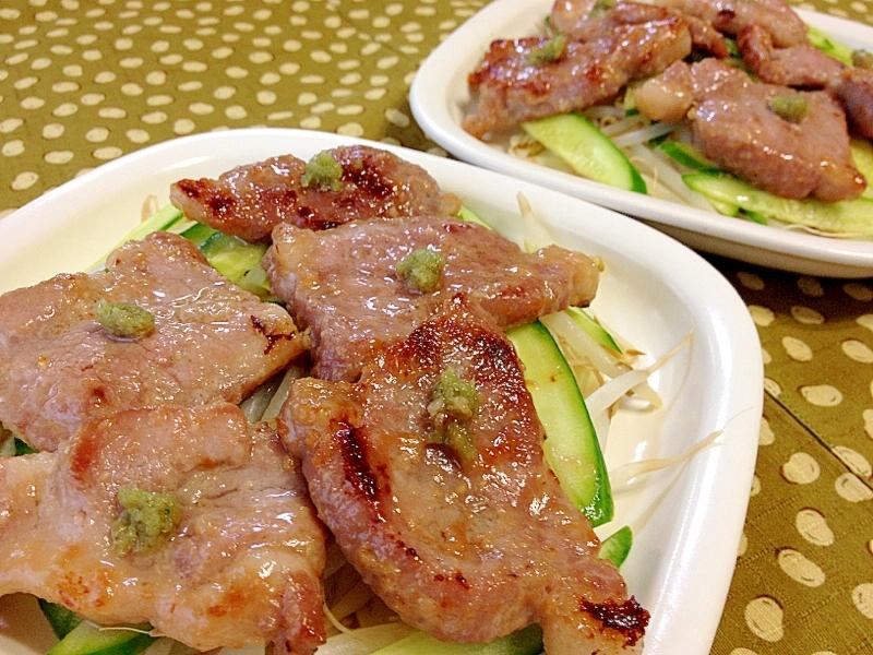 わさびをのっけて☆塩麹漬け豚肉