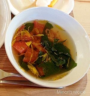 【病気の時も無理なく】干し海老わかめトマトのスープ
