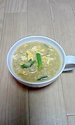 簡単☆わけぎと卵のオートミール粥