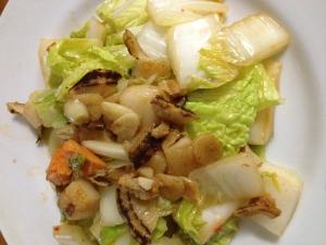 ホタテと白菜のピリ辛いガーリック炒め