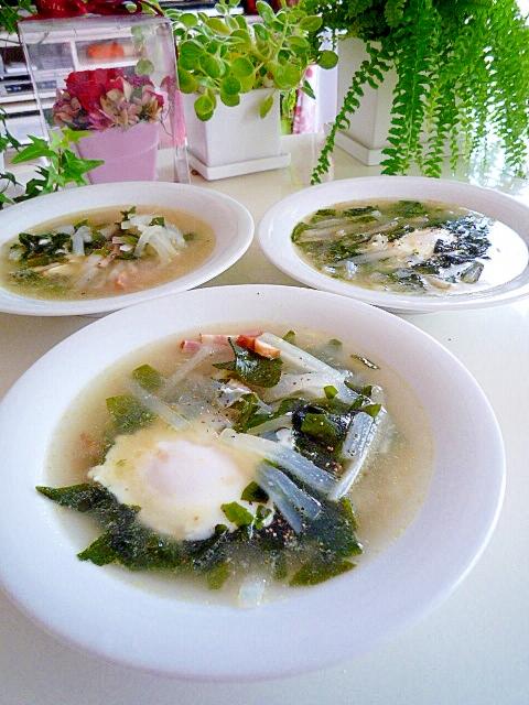 大根とワカメと卵の中華スープ♪