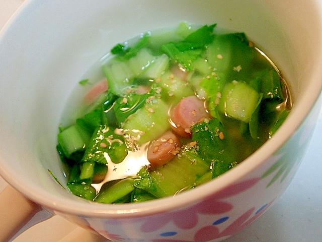 青梗菜とウインナーの中華スープ