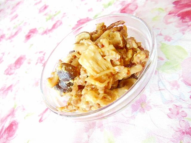 常備菜に牛豚ミンチと2種の茸の肉味噌炒め