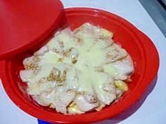 鶏肉とチーズのヘルシー野菜蒸し:約220Kcal