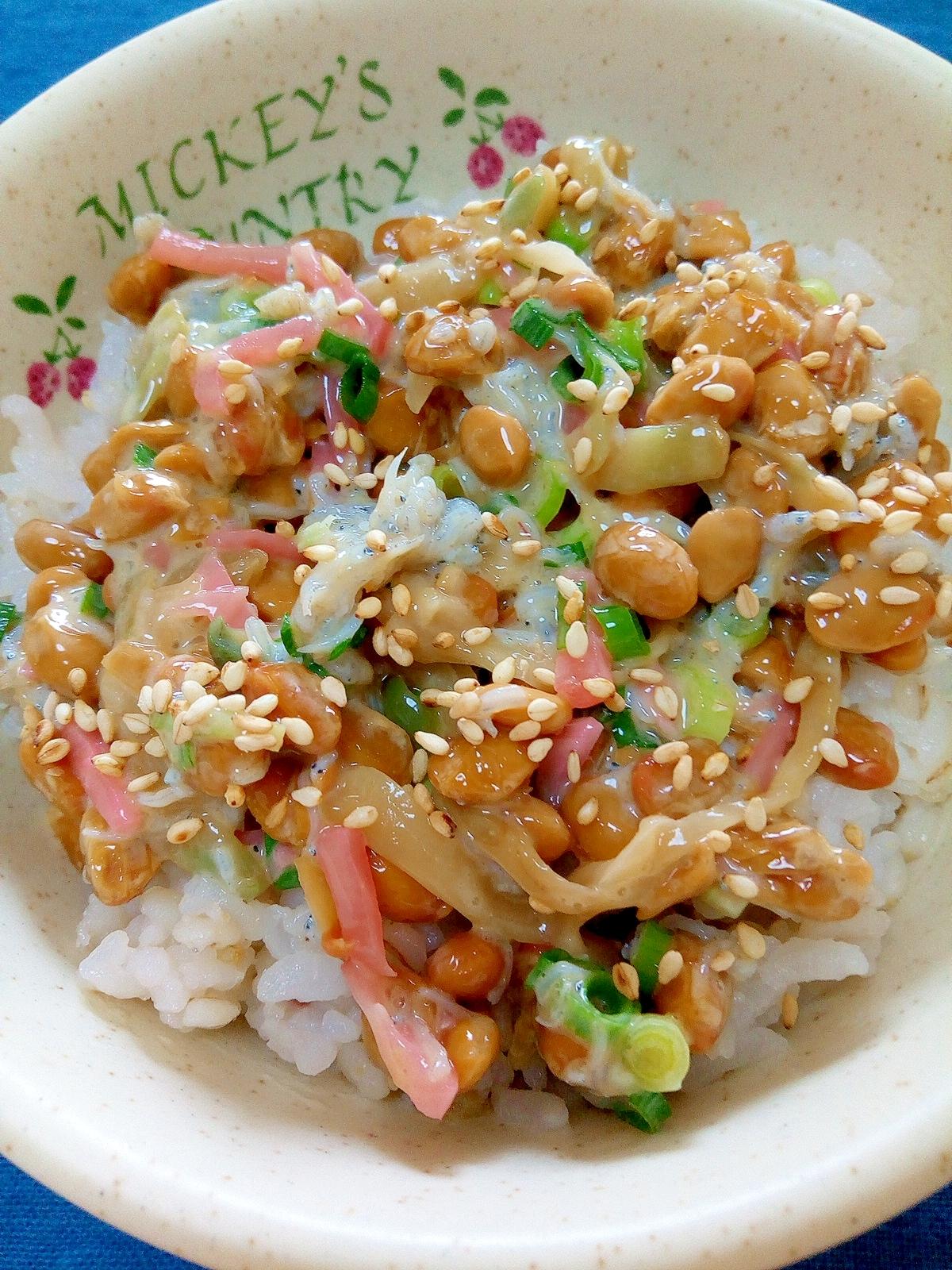 納豆の食べ方,しらす生姜ザーサイ♪