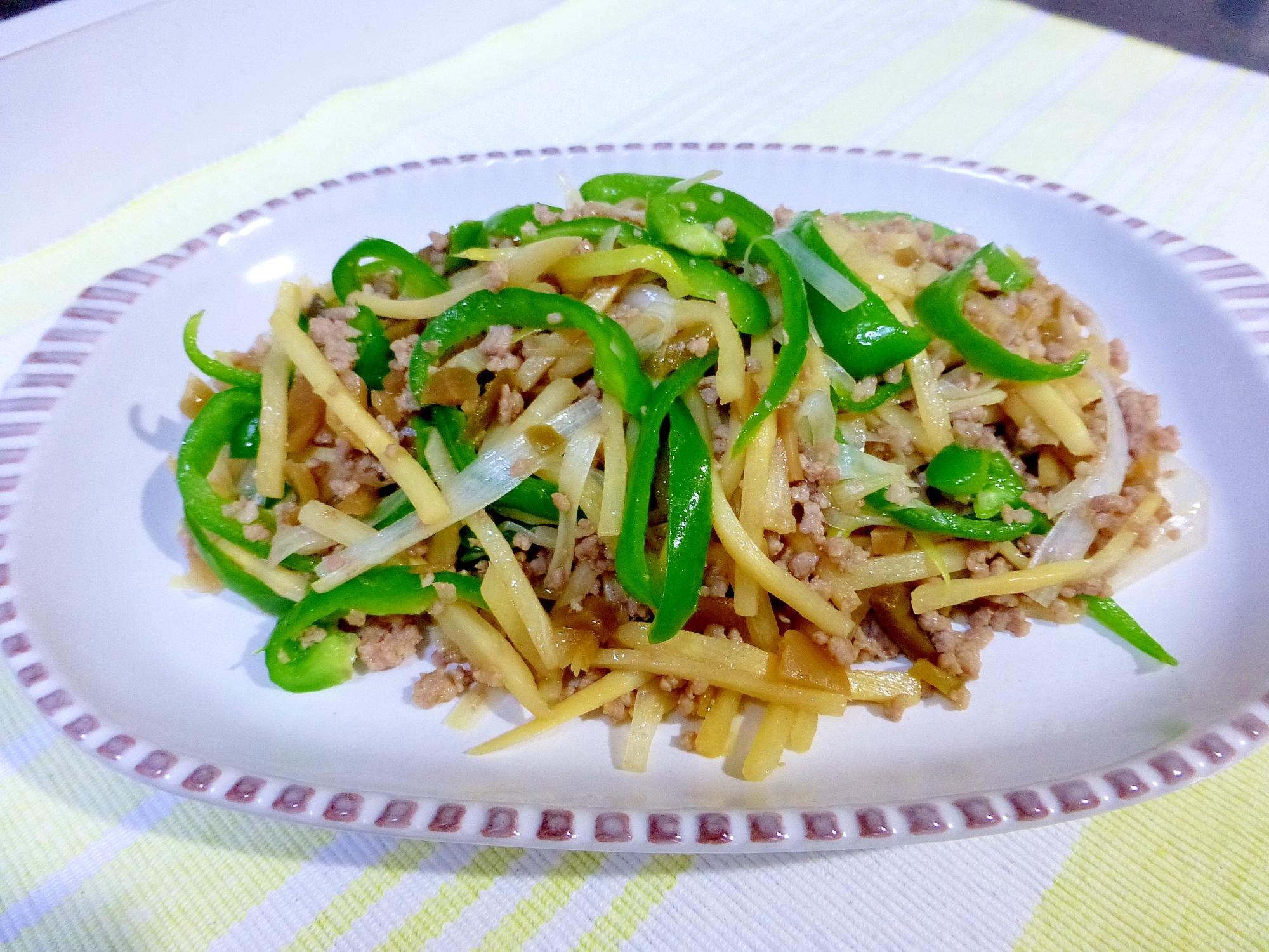 挽き肉と竹の子のザーサイ炒め レシピ・作り方