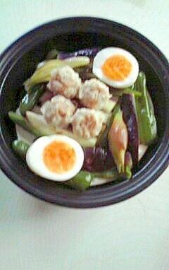 夏野菜と卵、焼売のワンプレートランチ