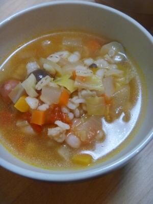 野菜たっぷり押し麦のスープ