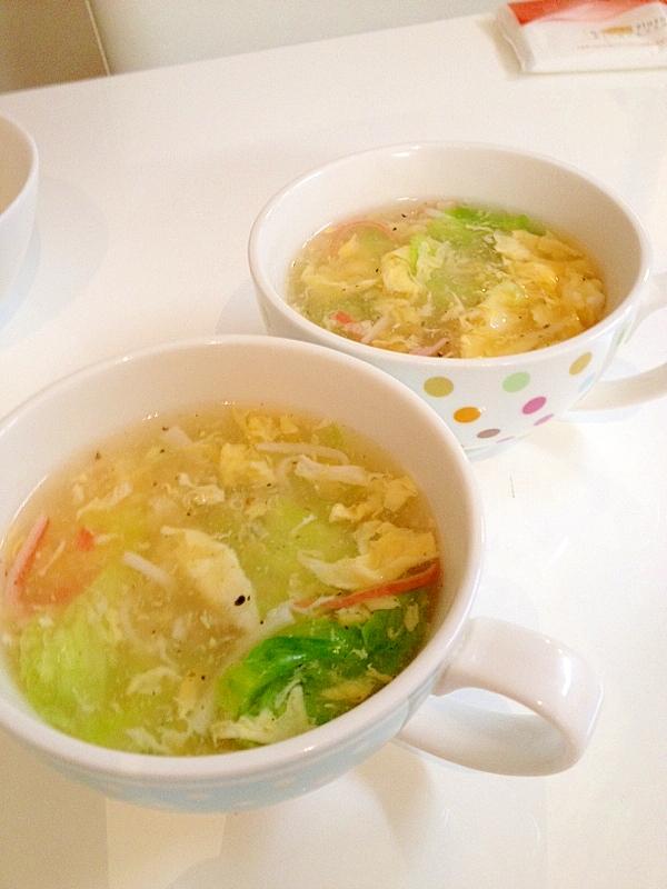 ふんわり卵のプチプチレタススープ
