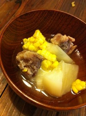 シンプル塩豚スープ☆かぶ&コーン