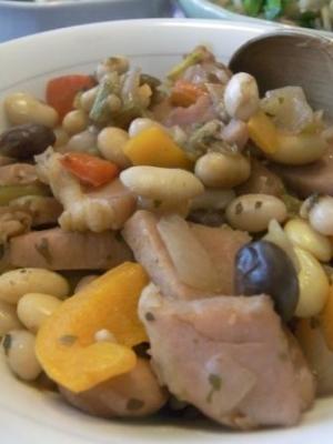 フライパンで豆の煮込みを作ってみよう。
