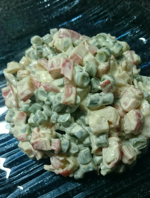 レンジで時短!にんにくの芽とカニカマのマヨサラダ!