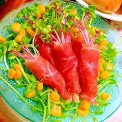 すだち香る大和芋マッシュの生ハムブーケサラダ