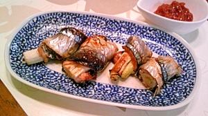 秋刀魚の葱巻き焼き、梅だれで