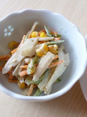 たっぷり繊維*いろいろ野菜と*ごぼうマヨサラダ