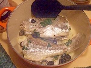 白身魚の白ワイン煮