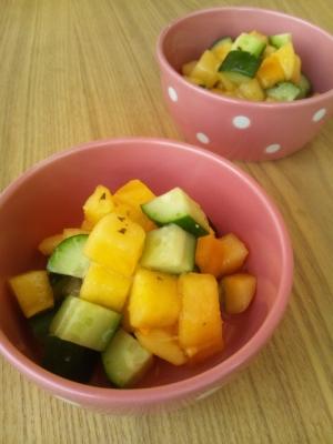 秋味サラダ☆柿ときゅうりのコロコロサラダ