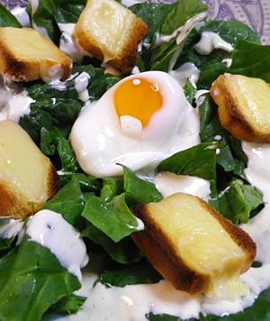 サラダホウレン草卵トーストサラダ