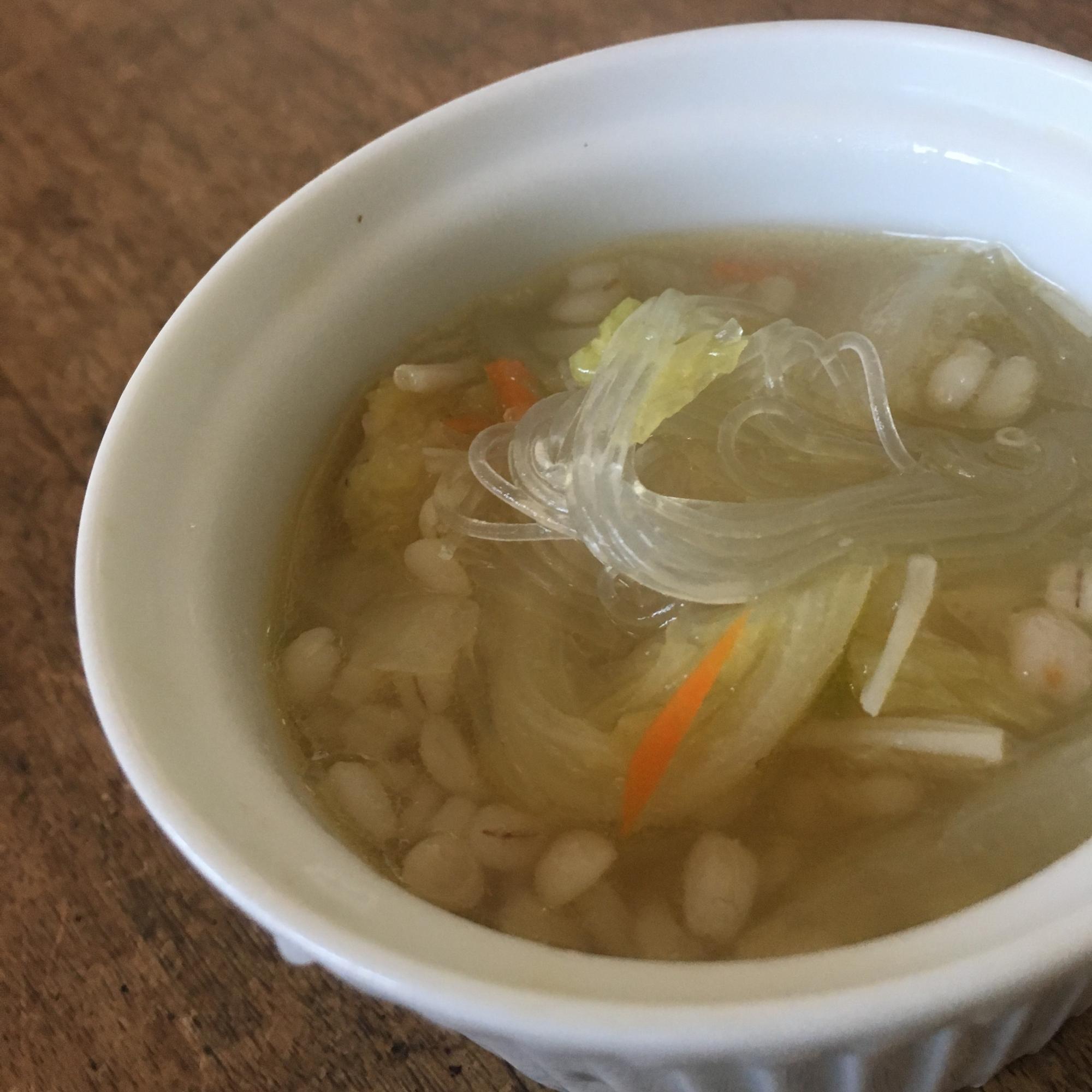 6. 中華風もおすすめ!「もち麦春雨スープ」