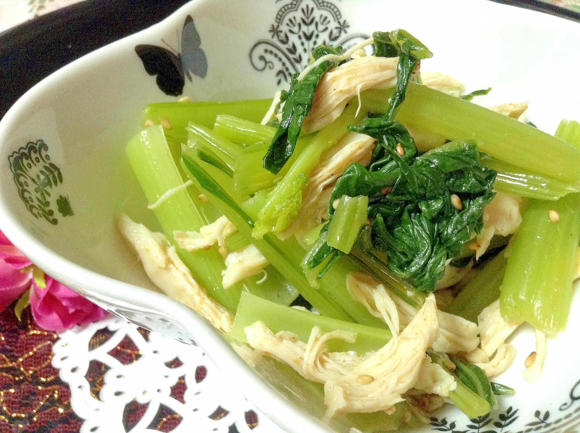 カレー風味小松菜と鶏ささみの小鉢