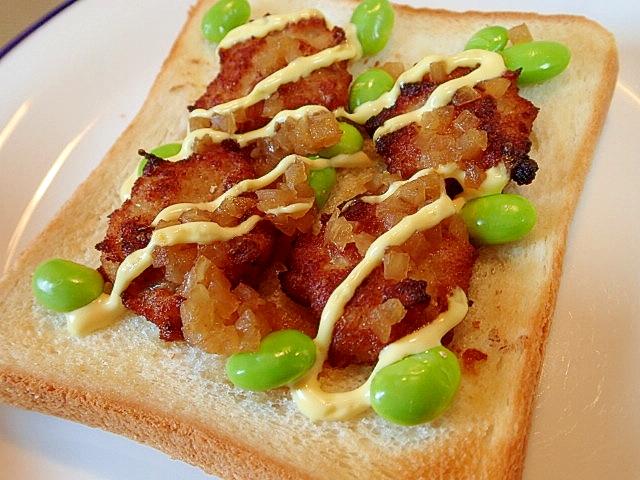 鶏のつくね揚げと枝豆のタマドレ生姜マヨトースト
