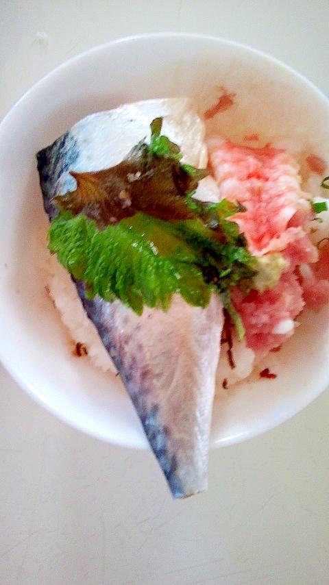 サバ寿司ネギトロ丼!寒い夜にスタミナを!