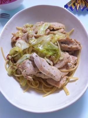 うまっ★鶏肉とキャベツのペペロンチーノ